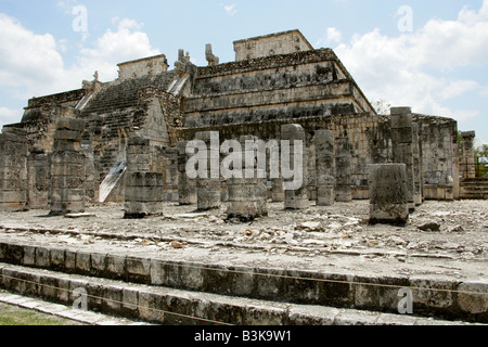 Temple of the Warriors, Chichen Itza Archaeological Site, Chichen Itza, Yucatan Peninsula, Mexico - Stock Image