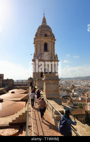 Tourists on a guided tour of the roof, with the belltower, Malaga Cathedral roof, Malaga, Andalucia, Spain Europe - Stock Image