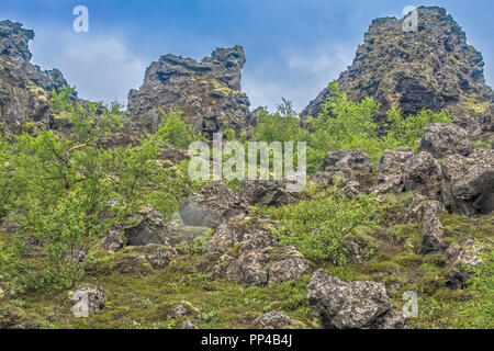 Strange Rock  Formations At Dimmuborgir Akureyri Iceland - Stock Image