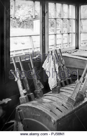 Uddens Signal Box when disused and derelict following closure as a result of the Beeching axe in the 1960s.  Uddens was on the Ringwood to Wimborne railway line in Dorset, England, UK; Historic photo taken 14th April, 1968 - Stock Image