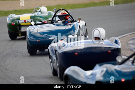 Lister Knobbly leads Allard J2R and other1950's sports cars - The Vintage Sports-car Club meet at Silverstone. - Stock Image