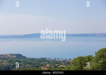 View of Lake Bracciano in Italy. - Stock Image