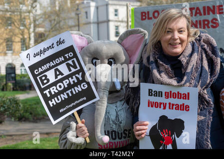 Protest march taking place in London demonstrating against the threat of extinction of wildlife and highlighting the act of trophy hunting in particular of elephants and rhinos. It is part of the 5th global march for elephants and rhinos and is timed to take place before a conference in Sri Lanka calling to uplist elephants to Appendix I - Stock Image
