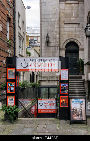 The entrance to the Museum of Comedy in the undercroft of  St George's Church, Bloomsbury Way, Holborn. - Stock Image