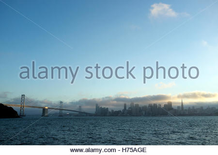 Late afternoon fall (autumn) view of San Francisco and the Bay Bridge, looking across San Francisco Bay. California, - Stock Image
