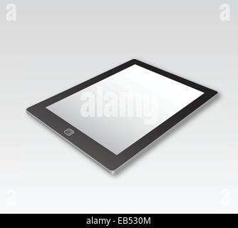 Digital tablet lying on grey surface - Stock Image