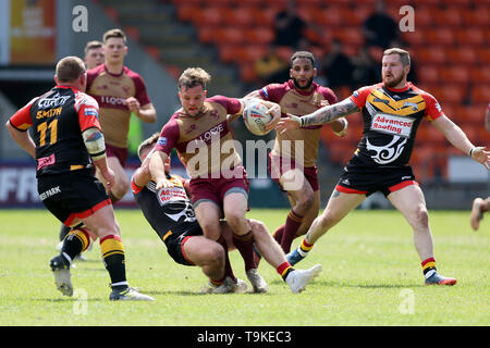 Sheffeld Eagles Aaron Brown in action during the Betfred Championship Summer Bash match at Bloomfield Road, Blackpool. - Stock Image