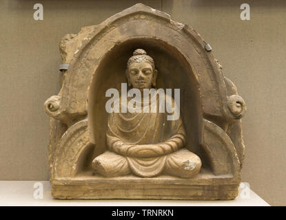 Buddha In Meditation(Stucco) 2nd-3rd Century. Central Gandhara. Department of Archaeology and Museums, Pakistan - Stock Image