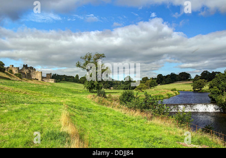 Alnwick Castle and Weir - Stock Image