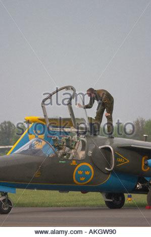 Saab Sk60A Saab 105 Rivolto Italia Air show 2005 - Stock Image