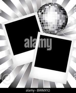 Vintage photo frames illustration templates with disco ball - Stock Image
