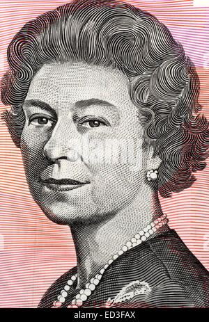 Queen Elizabeth II  (born 1926) on 5 Dollars 1992 banknote from Australia. Queen of the United Kingdom. - Stock Image
