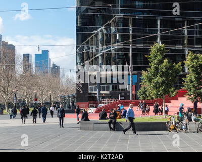 River side quay at Southbank, Melbourne, Victoria, Australia - Stock Image
