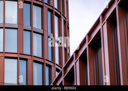 Braunschweig, Germany, December 30., 2018: Abstract looking close-up of the modern BraWo building next to Braunschweig Central Station - Stock Image