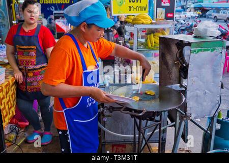 Roti, banana pancake stall, Maharaj Road, Krabi town, Thailand - Stock Image