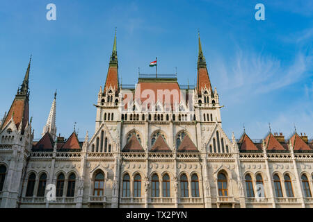 Exterior view of the Hungarian Parliament Building at Budapest, Hungary - Stock Image