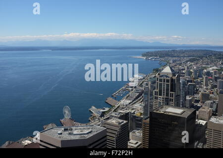 Seattle's Downtown from the Columbia Center, Seattle, Washington state, USA - Stock Image