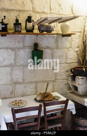 Traditional Maltese kitchen  table in a house. - Stock Image