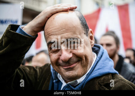Nicola Zingaretti, President of Italy's Lazio region and new leader of the centre-left Democratic party PD, gestures prior to Italy's Liberation Day celebrations in Milan, Italy  on 25th April 2019. The Festa della liberazione, also known as Anniversary of the Liberation is a national Italian holiday celebrating the end of the Nazi occupation during World War II and the victory of the Resistance. - Stock Image