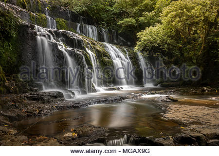 Cascade of McLean Falls, The Catlins, New Zealand - Stock Image