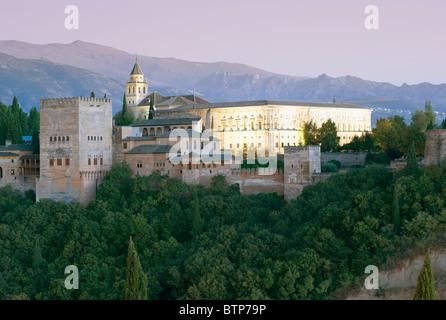 Alhambra Palace, Dusk, Granada, Andalucia, Spain - Stock Image