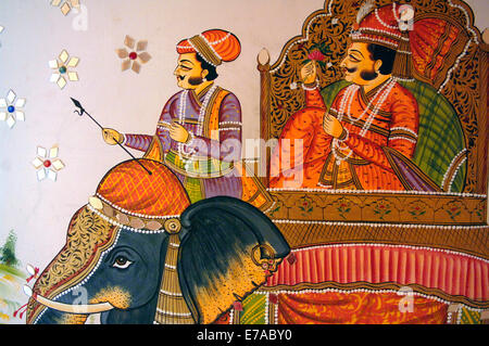 Detail of a contemporary mural in the Krishna Prakash Havelli in Jodhpur, Rajasthan, India - Stock Image