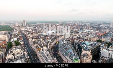 Aerial View Central London Skyline Town Center Above Piccadilly Road and Regent Street Bordering Mayfair in England United Kingdom UK - Stock Image