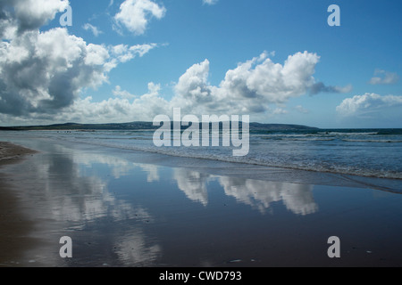 Beach reflections, Gwithian, Cornwall - Stock Image