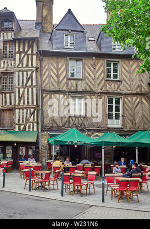 Wooden framed bar in the old quarter of Rennes the capital of Brittany, France - Stock Image