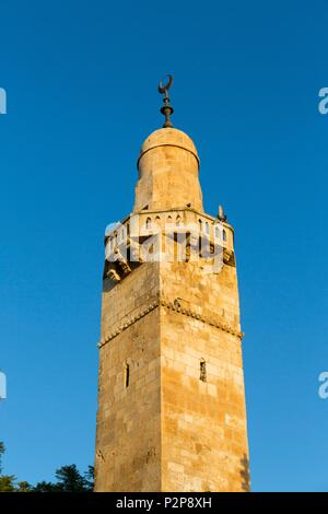 Israel, Jerusalem, the UNESCO World Heritage Old Town, the tower of the Caliph Omar Mosque - Stock Image