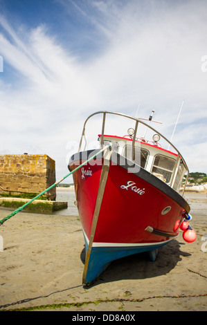 Fishing boat 'Josie' moored in the Harbour at St. Michael's Mount in Cornwall - Stock Image