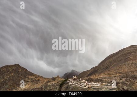 Deskit monastery & stormy sky, Ladakh, India - Stock Image