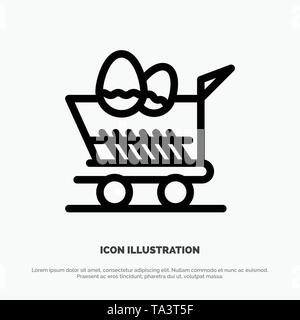 Cart, Trolley, Easter, Shopping Line Icon Vector - Stock Image