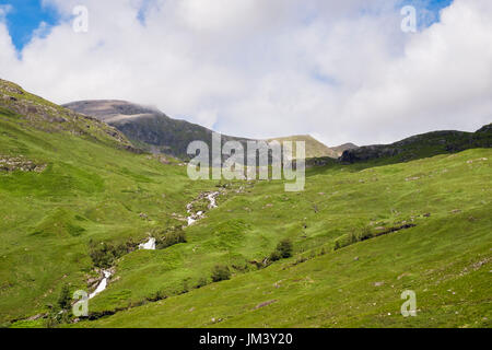 Allt Coire Giubhsachan mountain stream tumbling down from Ben Nevis from Glen Nevis valley in the Mamores mountains. Fort William Highland Scotland UK - Stock Image
