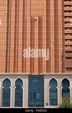 April, 4, 2019: Abu Dhabi, UAE: Detail facade of Palace Gate Hotel, Abu Dhabi - Stock Image
