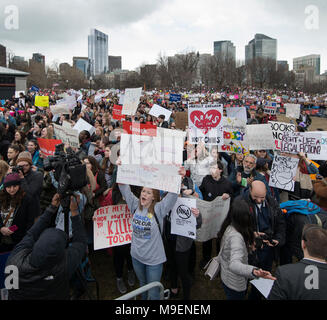 March For Our Lives, Boston, Massachusetts, USA 3-24-2018:  An estimated crowd of over 100,000 People gathered on the Boston Common during the March For Our Lives anti-gun demonstration. March For Our Lives demonstrations took place in most major U.S. cites and around the world on March 24th 2018. March For Our Lives demonstrations were a reaction to the school shooting at Marjory Stoneman Douglas High School on Valentine's Day of 2018 in Parkland Florida, USA.  The shooting in Florida left 17 high school students dead. Credit: Chuck Nacke / Alamy Live News - Stock Image