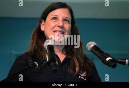 U.S. Homeland Security Acting Secretary Elaine Duke speaks during relief efforts in the aftermath of Hurricane Maria - Stock Image