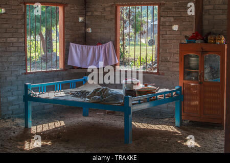 Life in the village: interior of a typical Burmese country house - Stock Image