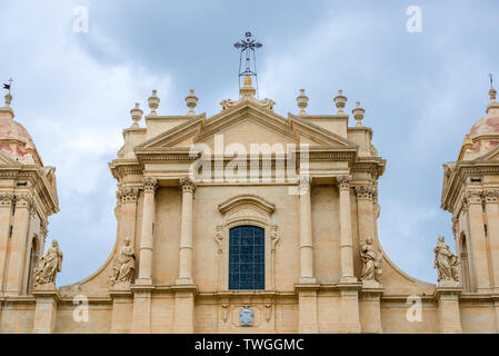 Close up on Saint Nicholas of Myra Cathedral in Noto city, Sicily in Italy - Stock Image