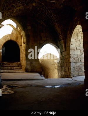 Syria. Talkalakh District, Krak des Chevaliers. Crusader castle, under control of Knights Hospitaller (1142-1271) during the Crusades to the Holy Land, fell into Arab control in the 13th century.  Entrance ramp. Photo  taken before the Syrian Civil War. - Stock Image