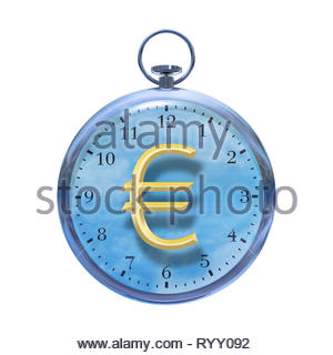 Time is money time management time cost watch with Euro € sign on a white background. - Stock Image