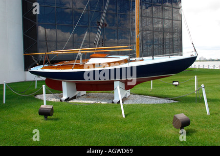 Boat Named Victura Owned by John F Kennedy John F Kennedy Library Boston Massachusetts - Stock Image