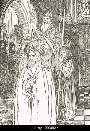 The baptism of Clovis I, first king of the Franks on Christmas day, 25 December, 501 AD - Stock Image