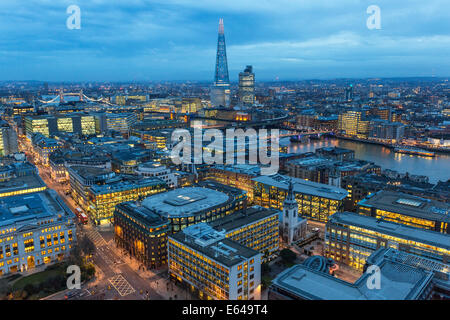 View over River Thames. The Shard, Tower Bridge, City of London, London, UK - Stock Image