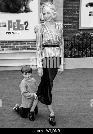 Los Angeles, CA - June 02, 2019: Jaime King (L) and her son attend the Premiere Of Universal Pictures' 'The Secret Life Of Pets 2' held at Regency Vil - Stock Image