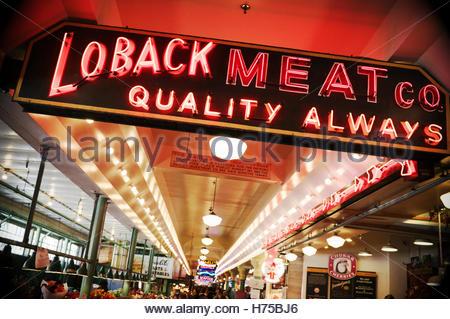 Illuminated signage at Pike Place Market, Seattle, Washington State, north west USA. - Stock Image