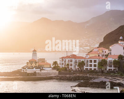 View of Canical, a town in the Madeira island with a lighthouse, Portugal, at sunset. - Stock Image