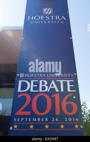 Hempstead, New York, USA. September 13, 2016. Hofstra University Debate 2016 banner, tall vertical in patriotic - Stock Image