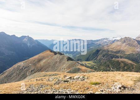 View of Poschiavo Valley from Piz Campasc, Bernina Pass, Engadine, canton of Graubunden, Switzerland, Europe - Stock Image
