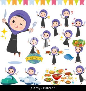 A set of women wearing hijab on food events.There are actions that have a fork and a spoon and are having fun.It's vector art so it's easy to edit. - Stock Image